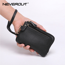 NEVEROUT Genuine Leather Coin Purse Zipper Card Holder Handmade Cowhide Mini Bag Wallets with Hand Strap