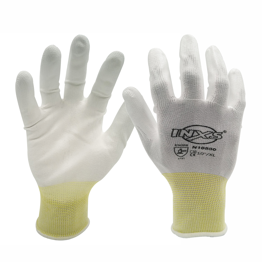 SAFETY-INXS EN388 Polyester PU Coated Breathable And Quick-drying Safety Work Gloves Mechanic 13 Gauge Working Gloves