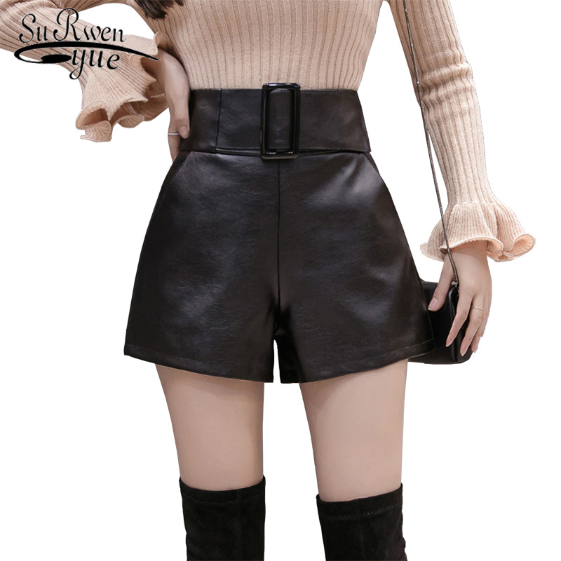 2019 Korean PU Faux Leather Shorts Women Autumn High Waist Wide Leg Short Ladies Plus Size Sexy Black Belted Short Femme 7774 50