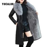 Winter Faux Fur Collar Leather Long Loose Coats Coat Female Jacket Parka Women Fourrure Femme Rabbit Mink Sheepskin Fashion Fox