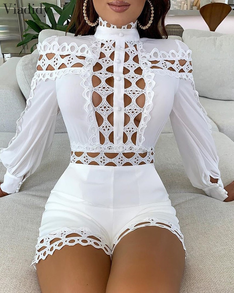 Lace Patchwork Long Sleeve Hollow Out Playsuits White Black Women Regular Rompers