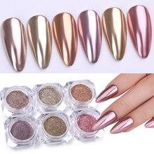 1 коробка металлический блеск порошок для ногтей Шампань розовое золото 24 цвета металлический зеркальный эффект для украшения ногтей пылез...