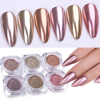 1 Box metaliczny sypki brokat do paznokci szampan różowe złoto 24 kolory metalowe lustrzane efekt ozdoba do paznokci Pigment chromowy w proszku tanie i dobre opinie UR Sugar Approx 0 3g Powder Paznokci brokat AXC47786