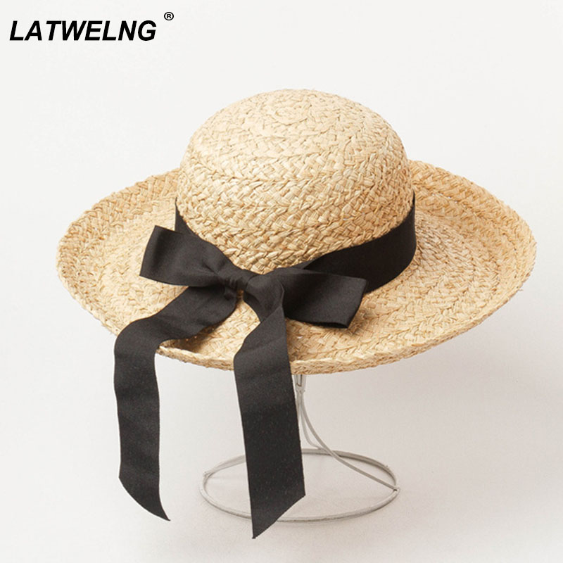 New Spring Summer Curled Bow Decoration Eaves Raffia Straw Hat For Women Outdoor Tourism Sun Hats