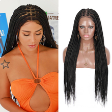 Kalyss 30 Inches Synthetic Hair 13*6 Knotless Box Braids Black Lace Front No-Knot Large Lace Feed-in Braids Wigs for Black Wowen