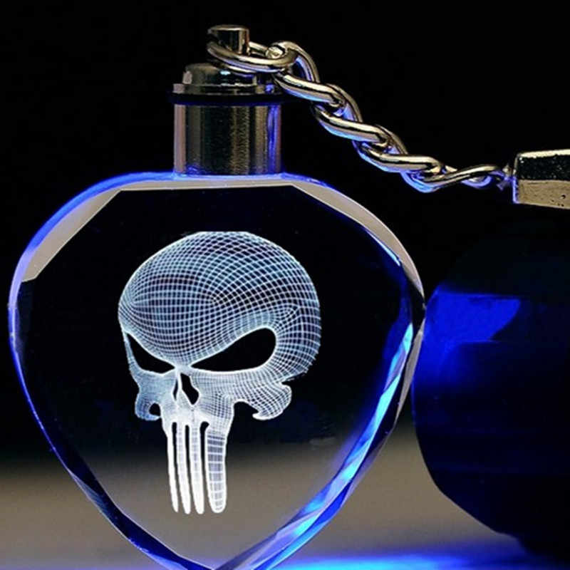 Chaveiro LED Light Up Logotipo Do Crânio Esqueleto Máscara Filme Moda Keychain Chave Anéis Para homens Legal Do Crânio Punisher presente