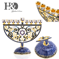 H&d hand painted enamel floral