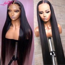 Wig 4x4 Lace Closure Lace-Front Straight Human-Hair 36inch Brazilian-Bone 34 Long