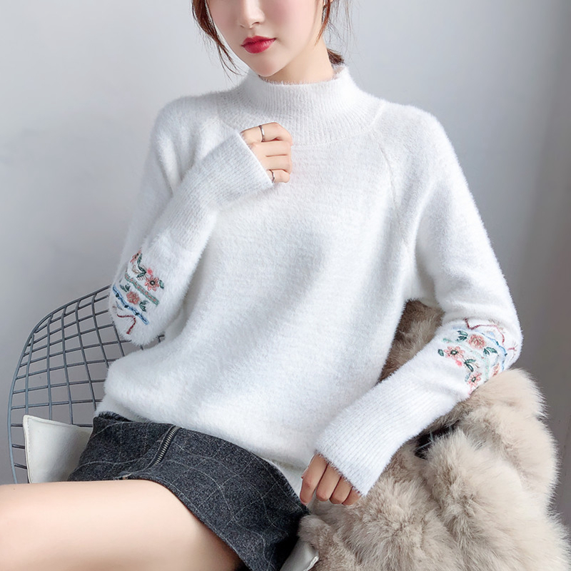 Gkfnmt Pullover Women Sweaters Mohair-Fur Cashmere-Knitted Embroidery Korean Winter Warm