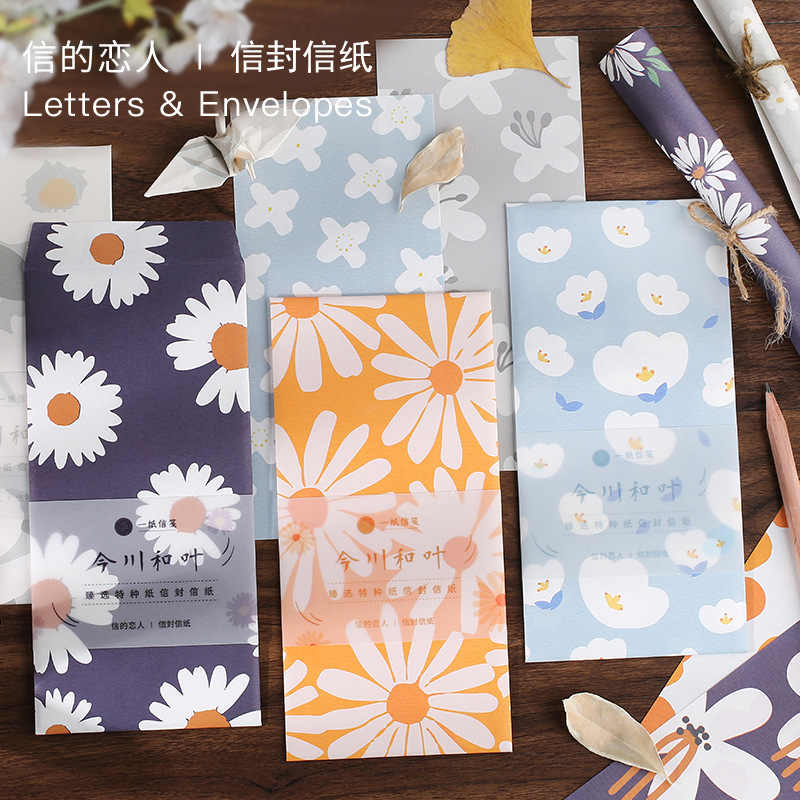 13 Pcs Envelop Brief Set 12 Vel Brief Papier + 1 Vel Envelop Kawaii Chrysant Zon Bloem Bloem Patroon Brief papier
