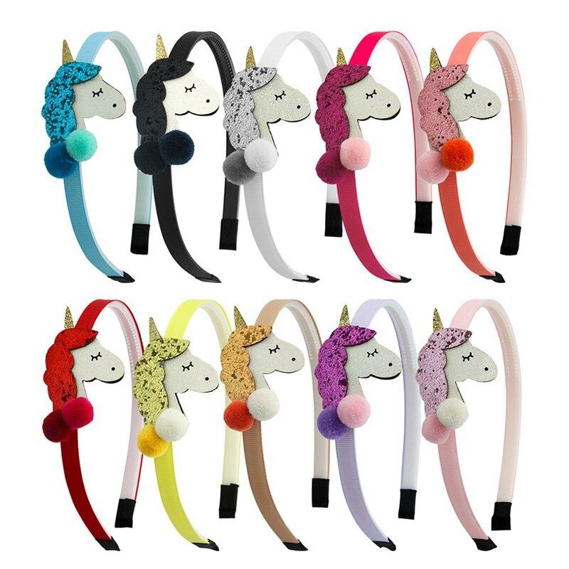 1pcs meninas headbands unicórnio bandana glitter 3d lantejoulas bola decoração hairband nova moda crianças headwear acessórios de cabelo