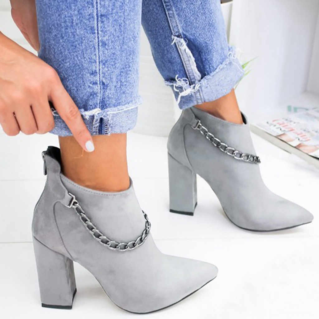 Fashion Chain Boots Women Autumn Winter 2019 Ladies Shoes Sexy Solid Pointed Toe Single Shoes Short Boots zapatos de mujer