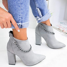Fashion Chain Boots Women Autumn Winter 2019 Ladies Shoes Sexy Solid Pointed Toe Single Shoes Short Boots zapatos de mujer(China)