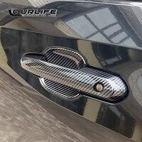 De fibra de carbono cubierta cromada de manija de puerta de la puerta de coche accesorios pegatinas Set de molduras para Toyota Highlander XU70 2020 de 2021 a 2022