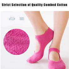Haute qualité anti-dérapant coton peigné chaussettes respirant dos nu Yoga chaussettes cheville dames Barre danse sport chaussettes pour salle de Fitness