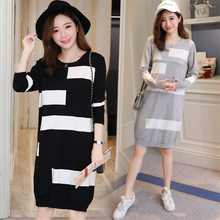 Maternity A-Line sweater Dress Pregnant Woman loose Fashion Splice Pullover Knitted long section long-sleeved Dresses Female