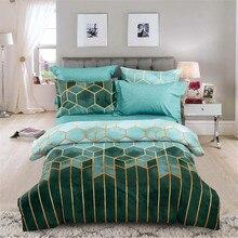 Gilt lines Geometric Plaid Stripe Duvet Cover Set Nordic 240x220 Double Queen King Size Quilt Covers Pillowcase (No Bed Sheet)