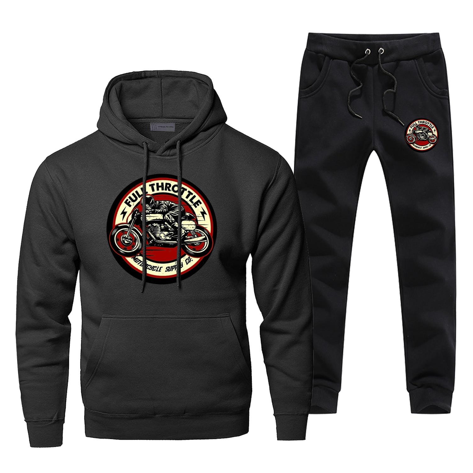 Hoodie Pants Set Full Throttle Cafe Men Racer Sweatshirt Male Hoodies Sweatshirts Mens Sets Two Piece Pant Pullover Hoody Coat