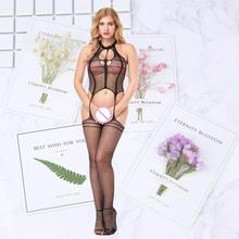 Sexy Erotic Lingerie Intimates Teddy Bodystockings Hollow Open Crotch Stockings Fishnet Mesh Bodysuit Porn Sleepwear