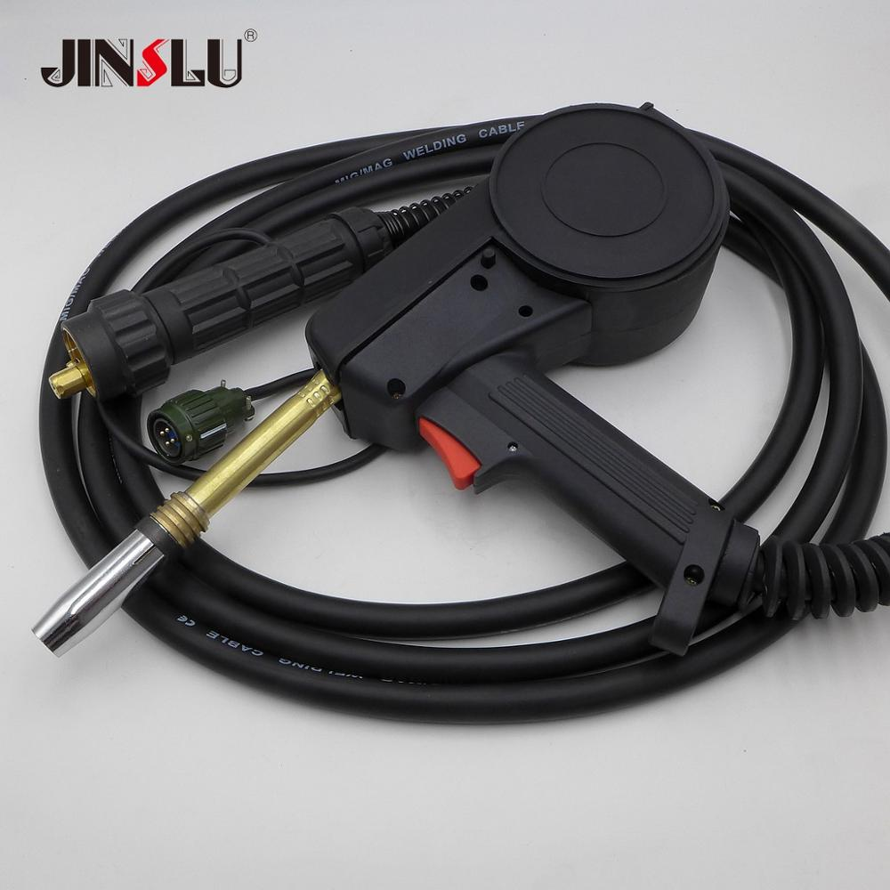 4 Meters MIG Welder Spool Gun Wire Feeder Aluminum Welder Use Standard Spool with Euro Connection 24V DC Motor Free Nozzle