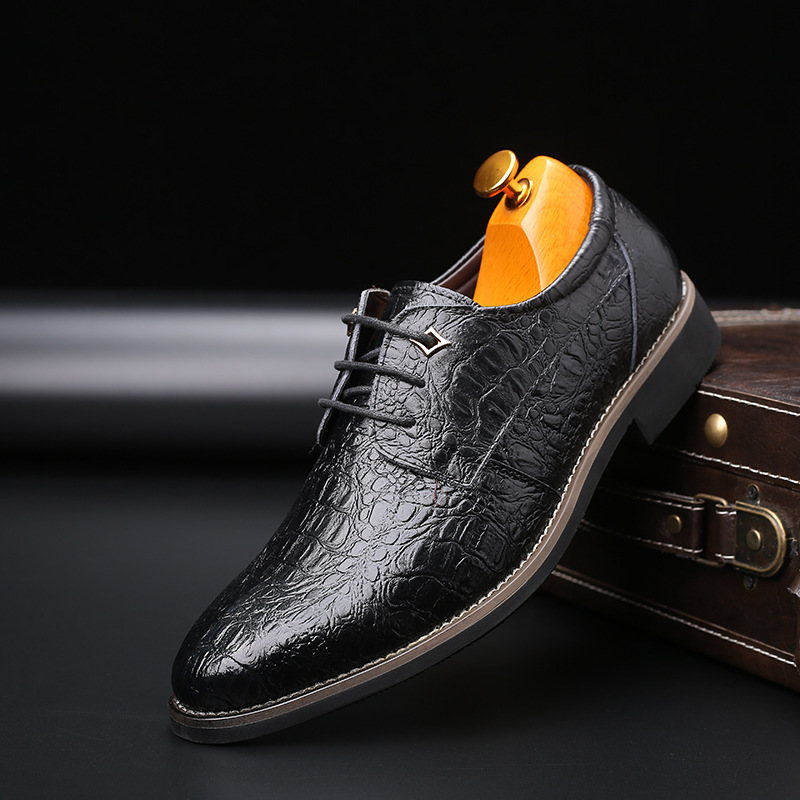 New Breathable Men Shoes Elegant Wedding Shoes Leather Shoes Men Casual Simple Lace Up Men Footwear  Large Size Men Shoes