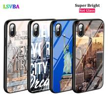 Black Cover New York City for iPhone X XR XS Max 8 7 6 6S Plus 5S 5 SE Super Bright Glossy Phone Case