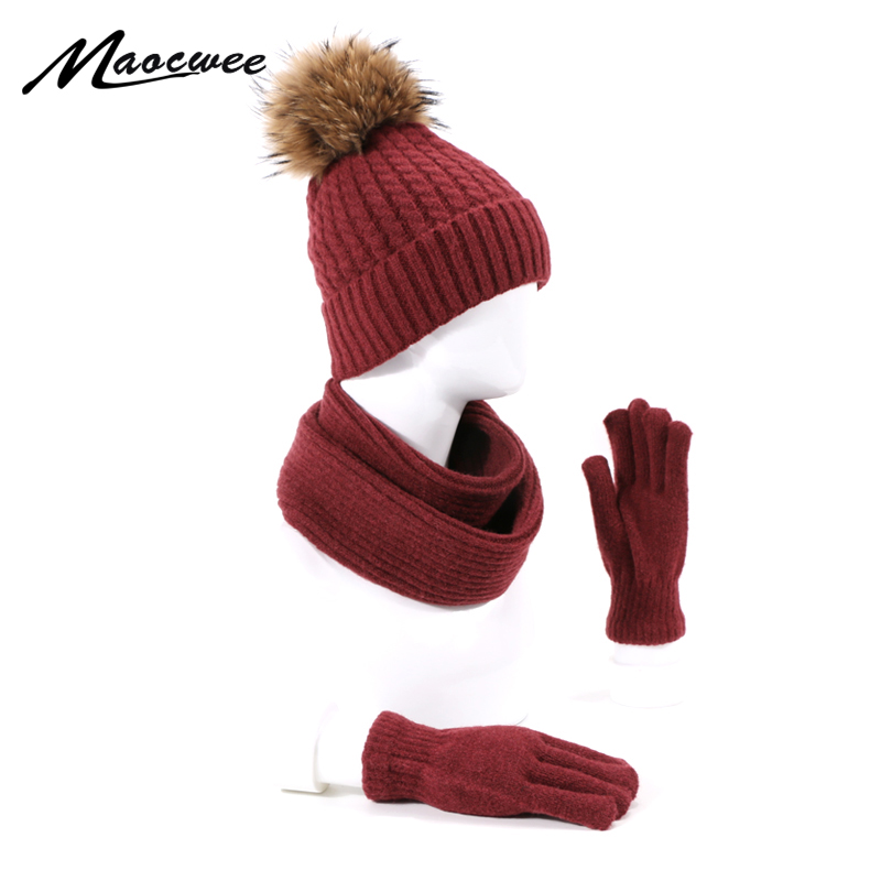 3 Piece Hat Scarf Gloves Set For Women Girl Pompons Hats Warm Beanies Hat For Girl  Scarf Winter Autumn Hats Knitted Hats Scarf
