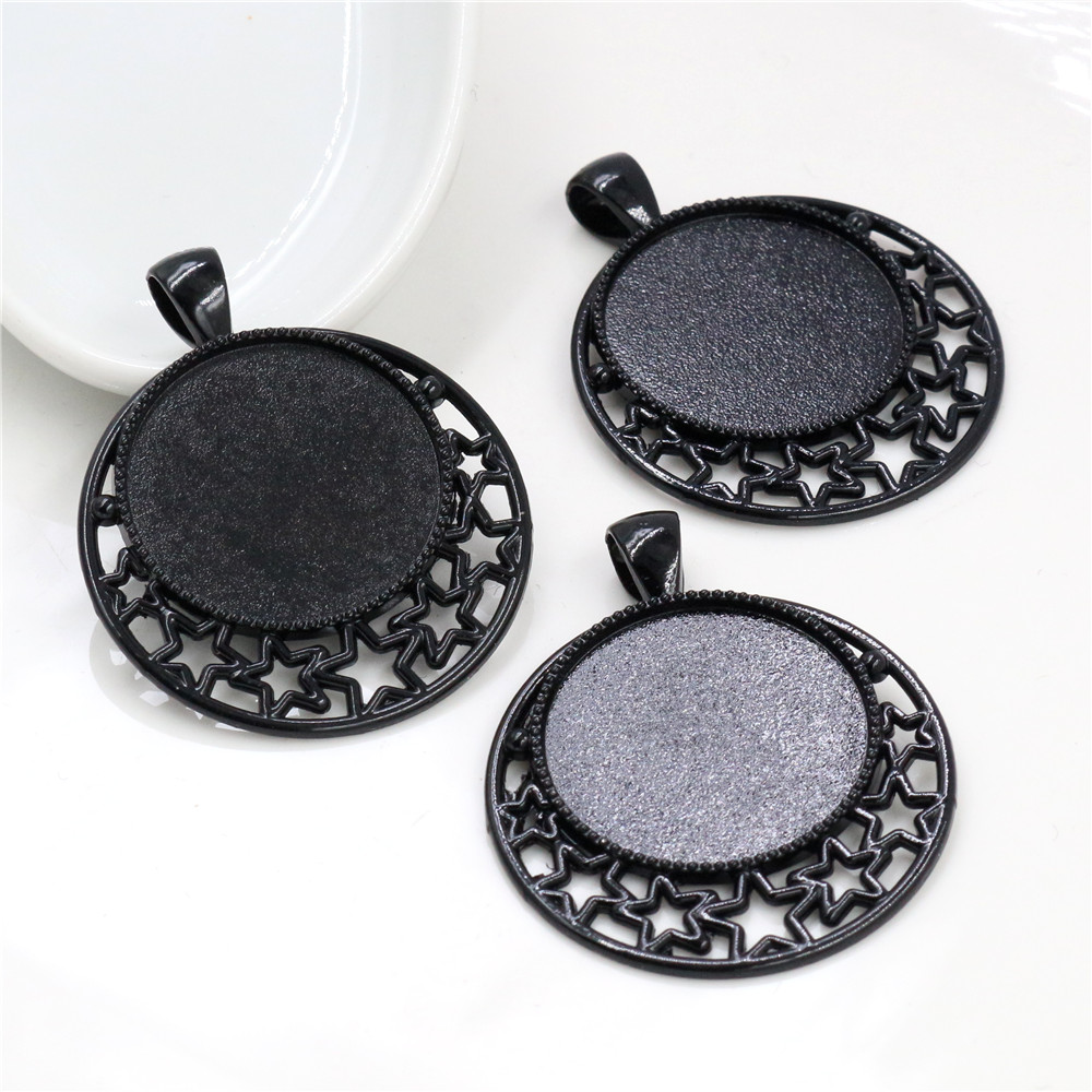 New Fashion 5pcs 25mm Inner Size Black Classical Style Cabochon Base Setting Charms Pendant (A5-25)