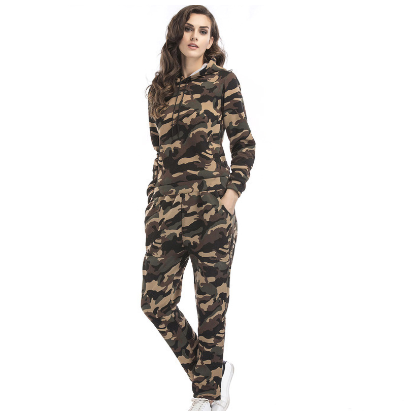 Two Piece Set Women Tracksuit Autumn Winter Ladies Pants Sweat Suits Camouflage Hooded Clothing Outfits Femme Lounge Wear