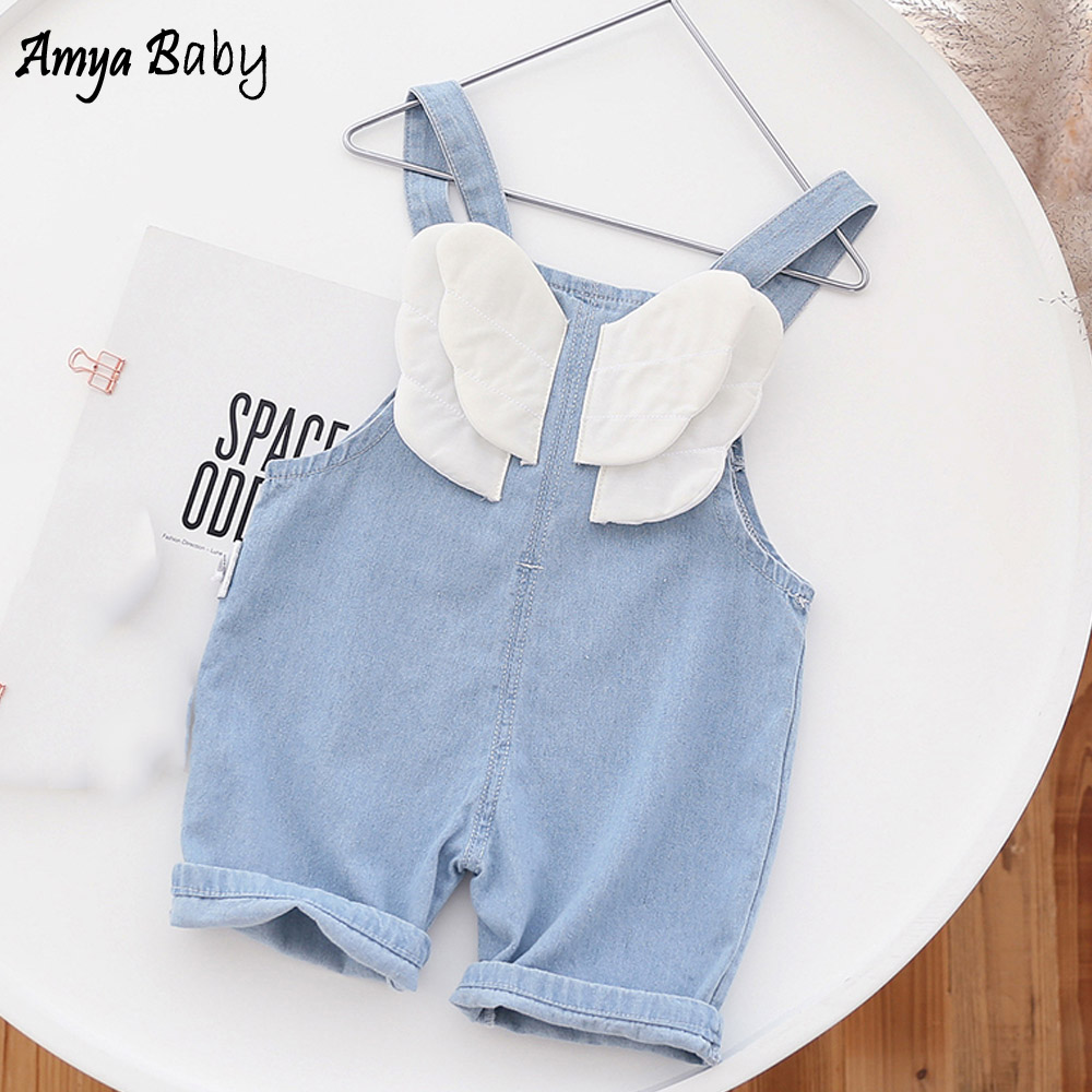 Amya Baby Girls Summer Romper Blue Color Cartoon Denim Baby Girl Overalls Princess Kids Clothes One Piece Toddler Jumpsuit