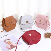 Korean version of the cover type ladies hexagonal lock small square bag 2020 new product Messenger