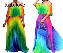 Rubilove Women Summer Gradient Tie Dye Print Chiffon Big Hem Off Shoulder Maxi Pleated Sexy Party Dress Bohemian Long Beach