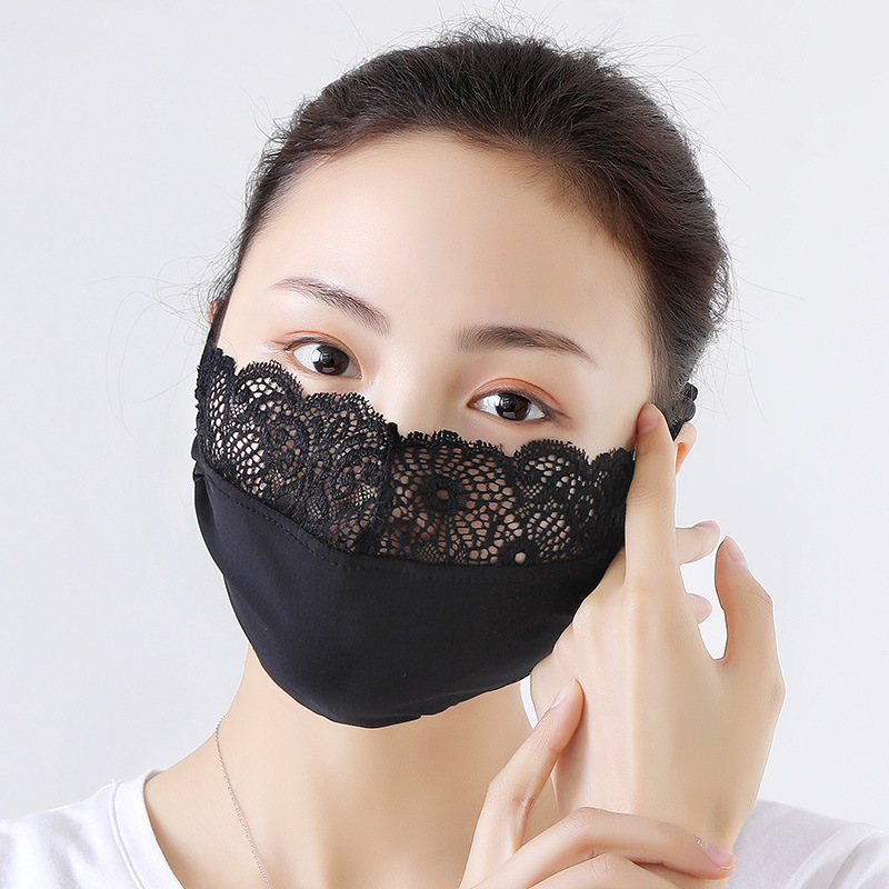 Ladies Fashion Sun Mouth Mask Against Ultraviolet Korean Ice Silk Lace Masks Spring Summer Thin Breathable Sunshade Face Mask