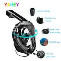 YaHey 2019 máscara de natación de cara completa vista Anti-niebla Snorkel máscara para buceo equipo subacuático Snorkel para GoPro Compatible