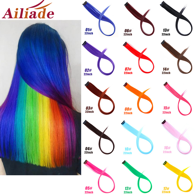 AILIADE Hair Strands On Clips  20inch Long Straight Fake Hair Extensions Clip In Rainbow Hair Streak Ombre Synthetic For Women