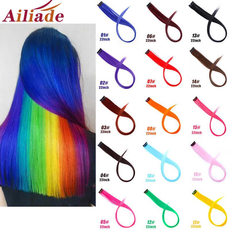 Ailiade Haar Strengen Op Clips 20 Inch Lange Rechte Nep Haar Extensions Clip In Regenboog Haar Streak Ombre Synthetische Voor vrouwen