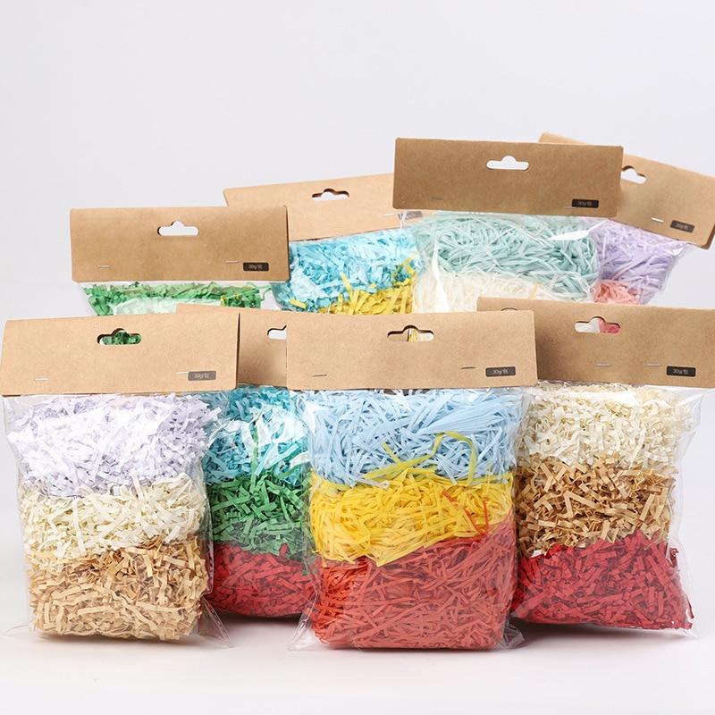 30g цветная с перекрестными шнурками из волокна «раффия» нарезанная бумага наполнитель подарочной коробки одежда для свадьбы, дня рождения ...