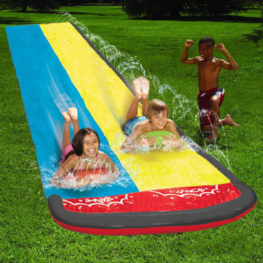 Park Inflatable Water Spray Toys Double Slide Outdoor Lawn Beach Inflatable Sliding Bed Double Surfer Interesting Children's Toy