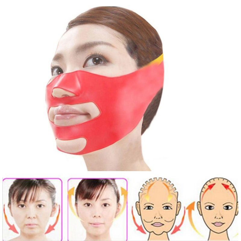 Silicone Thin Face Mask V-line Face Bandage Belt Slimming Facial Jade Roller Skin Care Face Massager Lifting Slim Massage Tool
