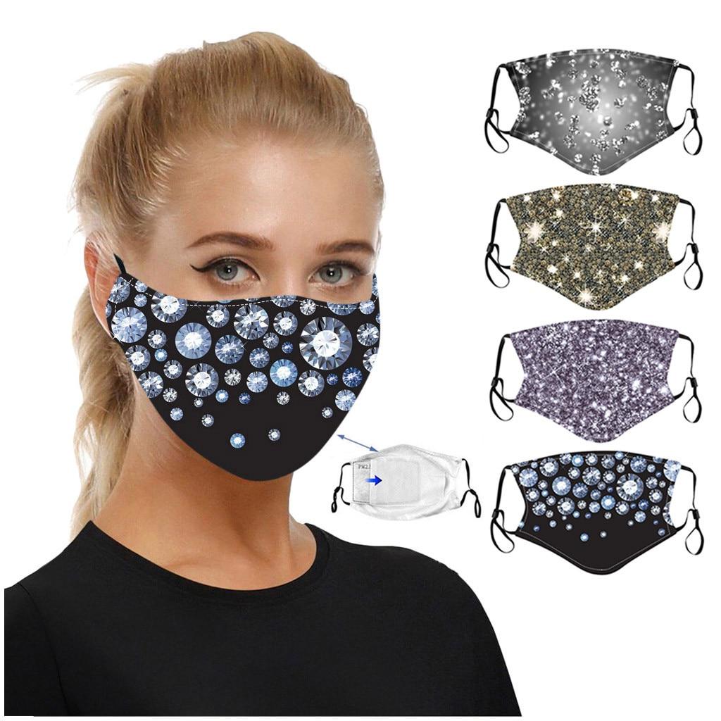 Маска для лица с блестящим принтом моющаяся дышащая хлопковая Защитная многоразовая ветрозащитная Пылезащитная регулируемая, 1 шт.