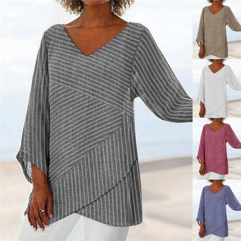 Hot Sell 2019 Women V-Neck Long Sleeve Striped Blouses Lady New Design Asymmetric Loose Baggy Shirts Plus Size