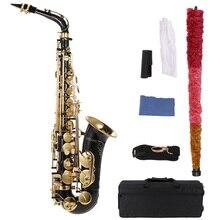 Ammoon 고급 황동 옻칠 한 금 E 알토 색소폰 E flat Sax 새겨진 패턴 목관 악기 캐리 케이스 포함