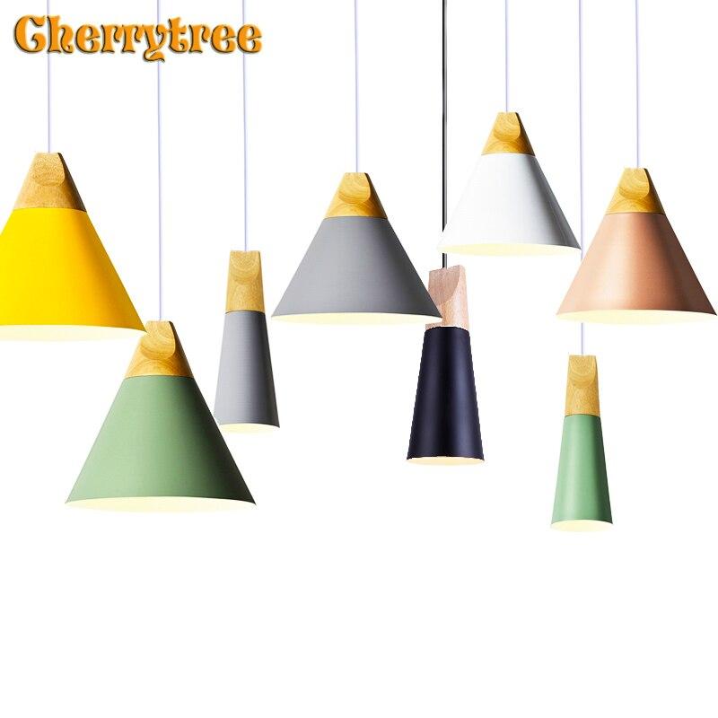 תליון אורות נורדי תליון מנורה מודרני עץ Hanglamp לופט עיצוב צבעוני מטבח אוכל חדר קפה מסעדת אור גופי