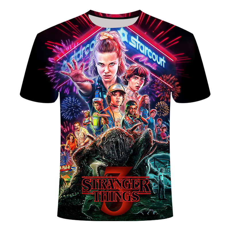 2019 new 3D printed   t     shirt   Stranger Things 3   t  -  shirt   men' children's Short sleeve Tops Hot Tv series Camiseta kid's tshirt gym