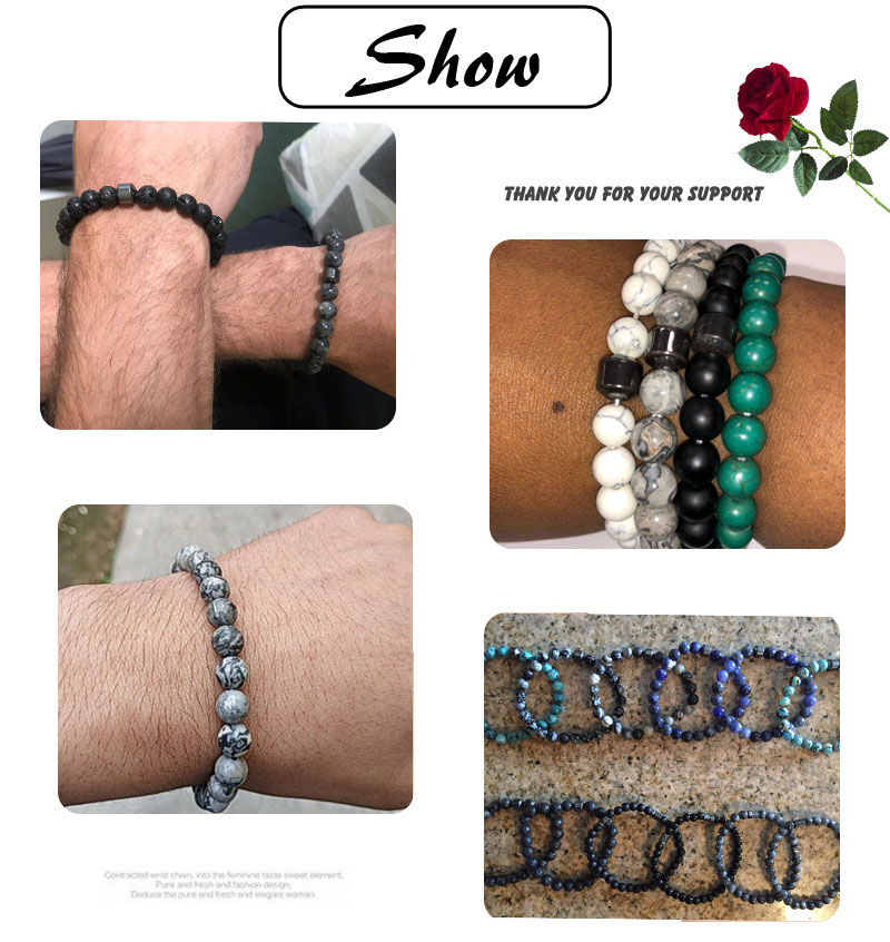 Pulseiras & Bangles Bracelet Malachite Stretch Beaded Classic Wrist Alloy Accessories hombre Nature Stone Homme Yoga man Jewelry 1