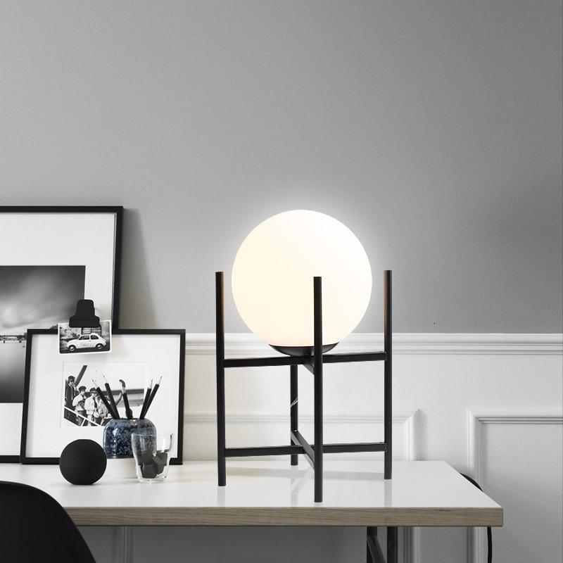 Настольная лампа в скандинавском стеклянном шарике для гостиной, чайный столик, прикроватная декоративная настольная лампа - 4