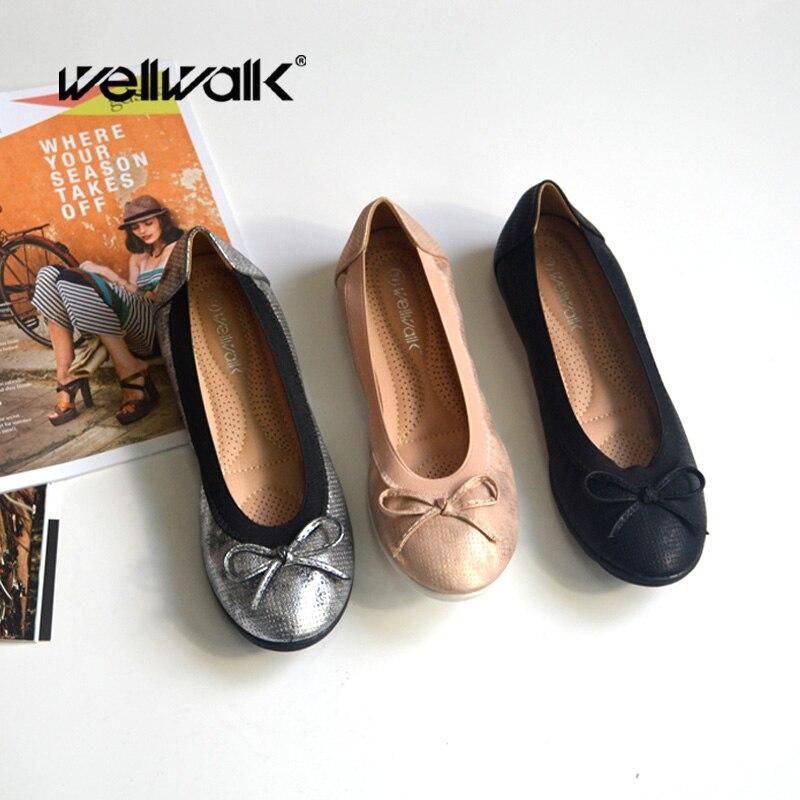 Wellwalk Ballerina Shoes Women Ballet Flats Woman Fashion Shoes Ladies Design Flats Female Slip-on Shoes Comfortable Ballerinas