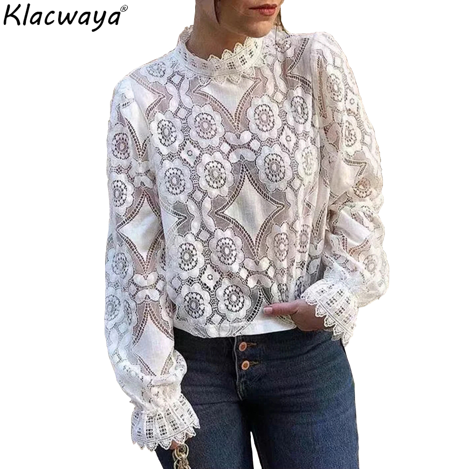 Модная женская Кружевная блуза большого размера, рубашка 2019, женские свободные рубашки, Милая Короткая Блузка для девочек, женские вечерние шикарные топы, femme