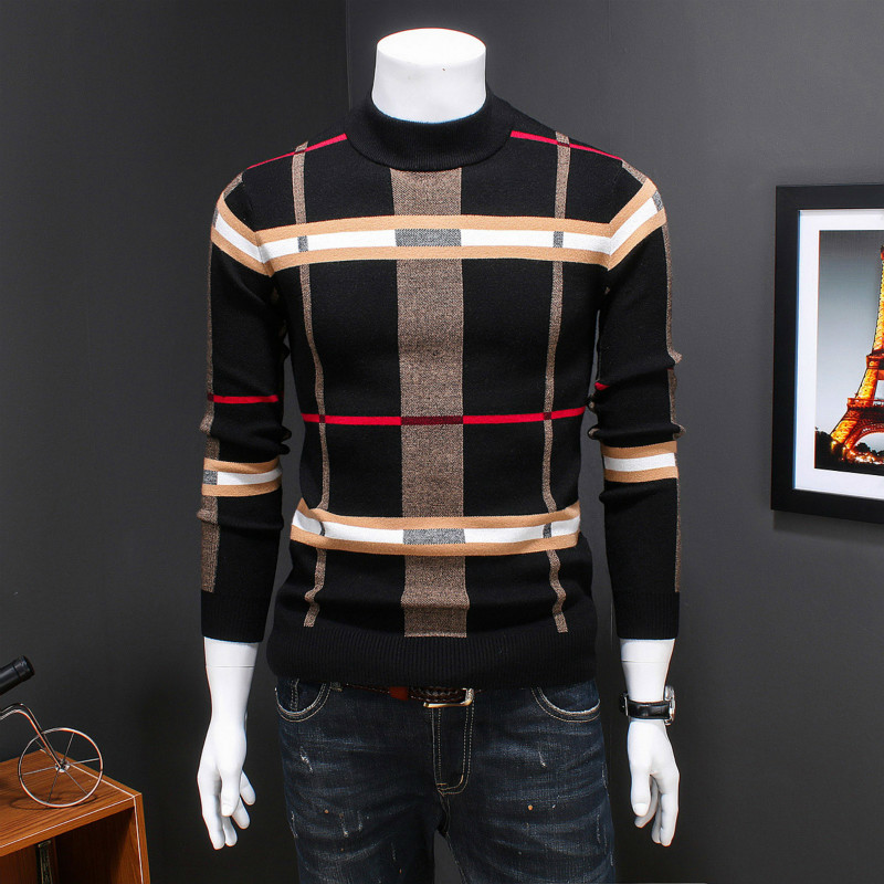 2019 Autumn And Winter Male Korean Version Plaid Striped Round Neck Long-sleeved Sweater Sets Wool Knit Bottoming Clothes Black