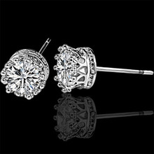 New Fashion Jewelry Crown Women Classic Shining Zircon Small Stud Earrings Silver Color Ears For Men Crystal WD638
